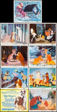 "Lady and the Tramp (Buena Vista, 1955). Lobby Card Set of 9 (11"" X 14""). Animation. ... (Total: 9 Items)"