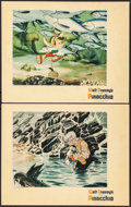 """Movie Posters:Animation, Pinocchio (RKO, 1940). Trimmed Lobby Cards (2) (10.75"""" X 13.5""""). Animation.. ... (Total: 2 Items)"""