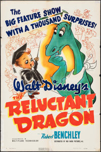 "The Reluctant Dragon (RKO, 1941). One Sheet (27"" X 41"") Glenn Cravath Artwork. Animation"