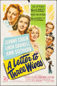 """A Letter to Three Wives (20th Century Fox, 1949). One Sheet (27"""" X 41""""). Drama"""