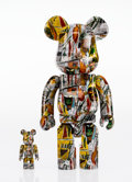 Fine Art - Sculpture, American:Contemporary (1950 to present), BE@RBRICK X Estate of Jean-Michel Basquiat. Basquiat 400% and100%, 2017. Painted cast resin. 10-3/4 x 5-1/2 x 3-3/4 inc...