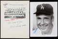 Autographs:Photos, Walt Alston Signed Letter, Photograph, and Postcard Lot of 6. ...