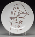 Prints & Multiples, After Jean Cocteau . Untitled (Figure with fish). Limoges porcelain plate. 9-1/2 inches (24.1 cm) (diameter). Stamped on...