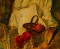 Fine Art - Painting, American, Alfred Henry Maurer (American, 1868-1932). Still Life of Fruitin a Basket. Oil on panel. 18 x 21-1/2 inches (45.7 x 54....