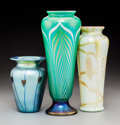 Art Glass:Other , Three Correia and Carlson Iridescent Glass Vases, late 20thcentury. . Marks: (various). 10 inches (25.4 cm) (tallest). ...(Total: 3 Items)