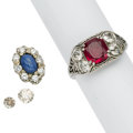 Estate Jewelry:Lots, Diamond, Synthetic Ruby, Synthetic Star Sapphire, White Gold, BaseMetal Lot. ... (Total: 3 Items)