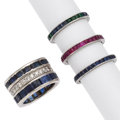 Estate Jewelry:Rings, Diamond, Multi-Stone, Platinum Eternity Bands. ... (Total: 4 Items)