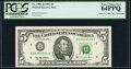 Serial Number 44444444 Fr. 1984-D $5 1995 Federal Reserve Note. PCGS Very Choice New 64PPQ