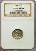 Proof Seated Dimes, 1864 10C PR65 Cameo NGC. NGC Census: (8/13). PCGS Population: (5/9). PR65. Mintage 470. ...