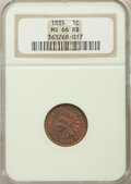 1885 1C MS66 Red and Brown NGC. NGC Census: (19/1). PCGS Population: (11/0). Mintage 11,765,384. ...(PCGS# 2152)