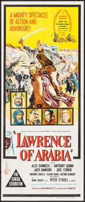 """Lawrence of Arabia & Other Lot (Columbia, 1963). Australian Daybill (13"""" X 30"""") & Lobby Card Set of 8..."""
