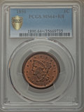 1850 1C MS64+ Red and Brown PCGS Secure. PCGS Population: (176/125 and 3/2+). NGC Census: (91/107 and 0/0+). CDN: $550 W...