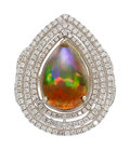 Estate Jewelry:Rings, Opal, Diamond, White Gold Ring  The ring featu...