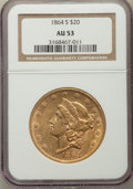 Liberty Double Eagles: , 1864-S $20 AU53 NGC. NGC Census: (122/298). PCGS Population: (66/167). CDN: $2,575 Whsle. Bid for problem-free NGC/PCGS AU5...