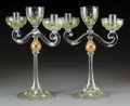 Art Glass:Other , A Pair of Enameled Murano Glass Candelabra, 20th c...