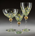 Decorative Arts, Continental:Other , Sixty-Five Murano Enameled Glass Stemware, 20th ce...