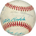 Baseball Collectibles:Balls, 1974 Hall of Fame Induction Class Multi-Signed Baseball (25 Signatures) - Mantle Induction Year!...