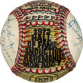 Baseball Collectibles:Balls, 1972 George Sosnak Folk Art Multi-Signed Baseball, Early Wynn and the Hall of Fame Induction Class....