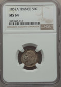 France: Republic 50 Centimes 1852-A MS64 NGC