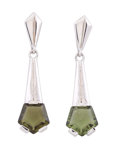 Meteorites:Moldavite, Moldavite Earrings. Moldau River Valley. Czech Republic. 1.22 x0.31 x 0.15 inches (3.09 x 0.80 x 0.38 cm). ... (Total: 2Items)