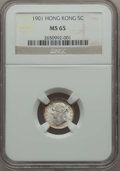 Hong Kong :British Colony, Hong Kong : British Colony. Victoria 5 Cents 1901 MS65 NGC,...