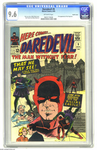 Daredevil #9 Pacific Coast pedigree (Marvel, 1965) CGC NM+ 9.6 Off-white pages. Dare-ing cover by Wally Wood is a beaut...