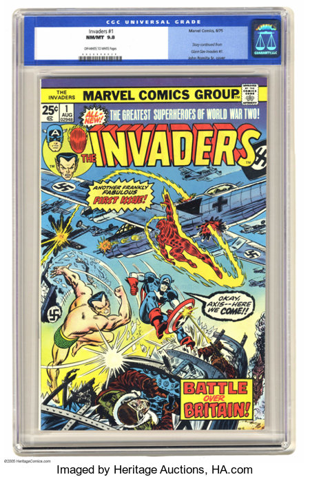 """The Invaders #1 (Marvel, 1975) CGC NM/MT 9.8 Off-white to white pages. When Marvel discontinued its """"Giant-Size"""" books, the ..."""