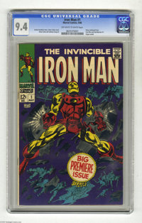 Iron Man #1 (Marvel, 1968) CGC NM 9.4 Off-white to white pages. Iron Man finally got his own title in 1968 after sharing...