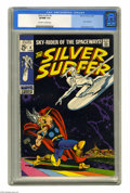 Silver Age (1956-1969):Superhero, The Silver Surfer #4 (Marvel, 1969) CGC VF/NM 9.0 Off-white to white pages. Thor battles the Silver Surfer, with a dramatic ...