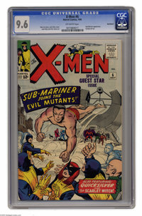 X-Men #6 (Marvel, 1964) CGC NM+ 9.6 Off-white pages. It would be another four years before Subby was awarded his own boo...
