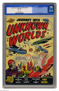 Golden Age (1938-1955):Science Fiction, Journey Into Unknown Worlds #36 (#1) (Atlas, 1950) CGC VF- 7.5Off-white pages. Here's an Atlas first issue that hadn't cros...