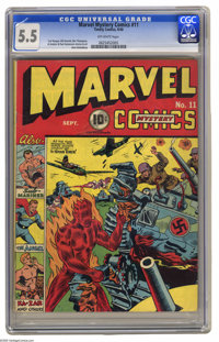 Marvel Mystery Comics #11 (Timely, 1940) CGC FN- 5.5 Off-white pages. The Human Torch has the answer for a Panzer on thi...