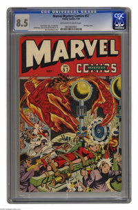 Marvel Mystery Comics #57 (Timely, 1944) CGC VF+ 8.5 Off-white to white pages. Here's another Alex Schomburg bondage cov...