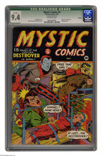 Mystic Comics #9 Chicago pedigree (Timely, 1942) CGC Qualified NM 9.4 Off-white pages. This frantic cover is not only a...
