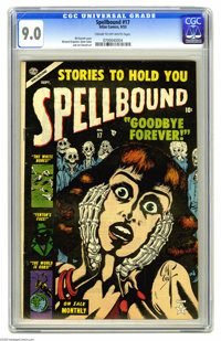 Spellbound #17 (Atlas, 1953) CGC VF/NM 9.0 Cream to off-white pages. Bill Everett cover. Bernie Krigstein, Gene Colan, a...