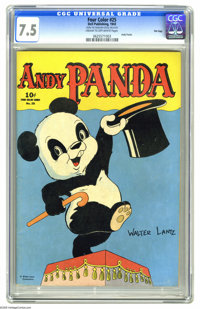 Four Color #25 Andy Panda - File Copy (Dell, 1943) CGC VF- 7.5 Cream to off-white pages. Walter Lantz created this adora...