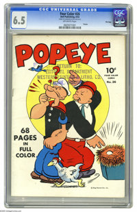 Four Color #26 Popeye - File Copy (Dell, 1943) CGC FN+ 6.5 Off-white pages. Thimble Theatre strips starring Popeye are f...