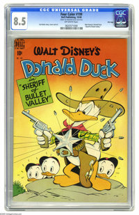 Four Color #199 Donald Duck in Sheriff of Bullet Valley - File Copy (Dell, 1948) CGC VF+ 8.5 Off-white pages. For many f...