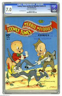 Looney Tunes and Merrie Melodies Comics #6 File Copy (Dell, 1942) CGC FN/VF 7.0 Cream to off-white pages. A Leon Schlesi...