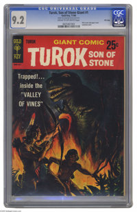 Turok, Son of Stone Giant #1 File Copy (Gold Key, 1966) CGC NM- 9.2 Cream to off-white pages. Slick cover. Overstreet 20...
