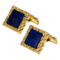 Estate Jewelry:Cufflinks, Lapis Lazuli, Gold Cuff Links. ...