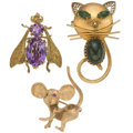 Estate Jewelry:Brooches - Pins, Multi-Stone, Gold, Yellow Metal Brooches. ... (Total: 3 Pieces)