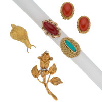 Diamond, Coral, Turquoise, Gold Jewelry