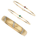 Estate Jewelry:Lots, Diamond, Ruby, Emerald, Gold Bangles. ... (Total: 3 Pieces)