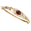 Estate Jewelry:Bracelets, Garnet, Diamond, Gold Bracelet. ...