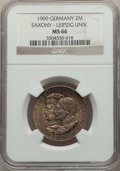 German States:Saxony, German States: Saxony. Friedrich August III 2 Mark 1909 MS66 NGC,...