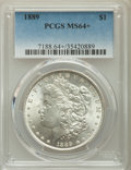 Morgan Dollars, 1889 $1 MS64+ PCGS. PCGS Population: (12639/2834). NGC Census: (17631/2447). MS64. Mintage 21,726,812....
