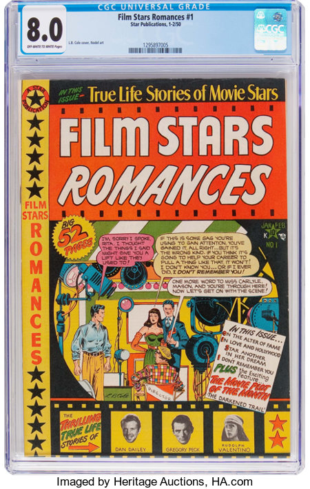 Film Stars Romances #1 (Star Publications, 1950) CGC VF 8.0 Off-white to white pages....