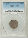Bust Dimes, 1824/2 10C VF30 PCGS. PCGS Population: (5/52). NGC Census: (2/42).Mintage 510,000. ...
