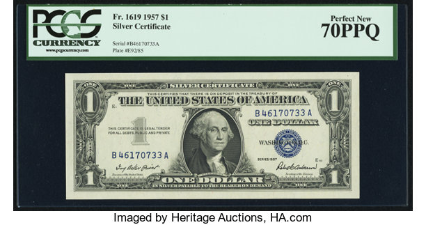 Fr. 1619 $1 1957 Silver Certificate. PCGS Perfect New 70PPQ ...